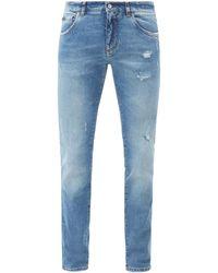 Dolce & Gabbana ダメージ コットンスリムジーンズ - ブルー