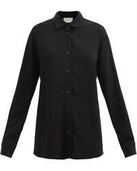 Asceno ミラン クレープシャツ - ブラック