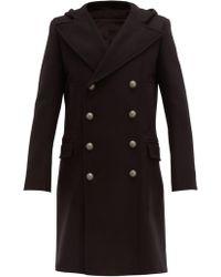 Balmain Double Breasted Wool Blend Coat - Black