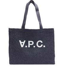 A.P.C. Logo Daniel Denim Tote Bag - Blue