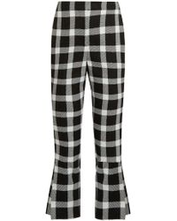 Christopher Kane - Checked Wool Blend Cropped Trousers - Lyst
