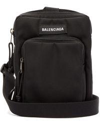 Balenciaga Logo-patch Canvas Cross-body Bag - Black