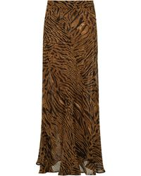 Ganni Tiger-print Crepe Maxi Skirt - Brown