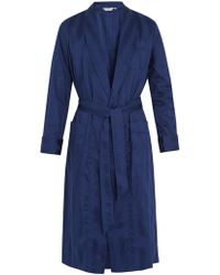 Derek Rose Lingfield Cotton Striped Bathrobe - Blue