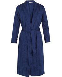 Derek Rose Lingfield Cotton-striped Bathrobe - Blue