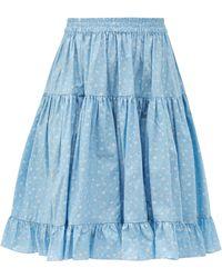 BATSHEVA エィミー ハイライズ フローラルコットンスカート - ブルー