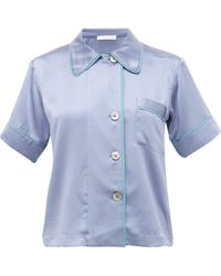 Araks Shelby Piped Silk Pajama Shirt - Blue