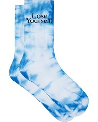 Paco Rabanne Lose Yourself Tie-dye Cotton-blend Socks - Blue