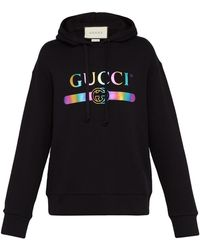Gucci Sweat-shirt à capuche et imprimé logo irisé - Noir