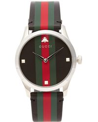 e1b04959e7b Gucci - G Timeless Web Striped Leather Watch - Lyst