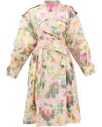 MSGM Trench-coat ceinturé en taffetas à imprimé floral - Multicolore