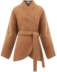 Raey Collarless Belted Camel-hair Coat - Natural
