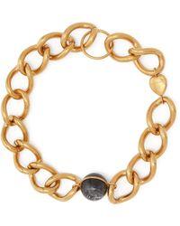 Burberry Stone & Chain Necklace - Metallic