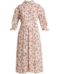 Emilia Wickstead Narmina Floral Print Point Collar Crepe Dress - Multicolour