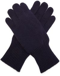 Brunello Cucinelli Cashmere And Suede Gloves - Blue