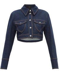 Ellery Sheval Cropped Denim Jacket - Blue