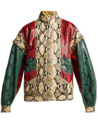 Gucci - Python-print Leather Bomber Jacket - Lyst