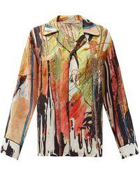 Christopher Kane Mindscape-print Satin Shirt - Multicolour