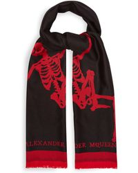 Alexander McQueen - Oversized Dancing Skeleton Wool Scarf - Lyst