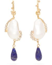 Givenchy Faux Pearl And Crystal Drop Earrings - Multicolour