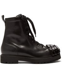 Rochas - Crystal Embellished Leather Ankle Boots - Lyst