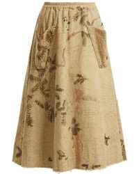By Walid | Hazy-jungle Print Cotton-canvas Skirt | Lyst