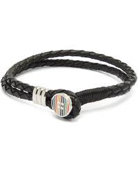 Paul Smith Braided Leather Bracelet - Black