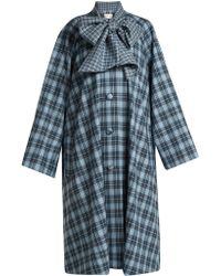 Rodarte Tie Neck Tartan Coat - Blue