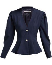 Alessandra Rich - Peplum Crystal Button Wool Blazer - Lyst