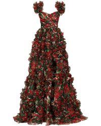 Dolce & Gabbana Ruffled Geranium-print Silk-organza Gown - Multicolour