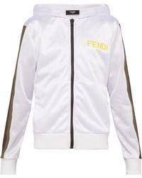 492cb92e52eb Fendi - Hooded Mesh Zip Through Jacket - Lyst