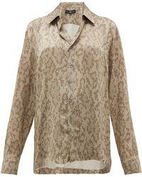 Edward Crutchley Snake-print Cuban-collar Silk Shirt - Multicolour