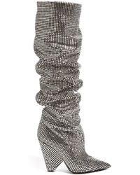 Saint Laurent | Niki Slouch Crystal-embellished Boots | Lyst
