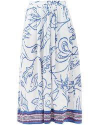 Le Sirenuse ジェーン ペイズリーコットンスカート - ブルー