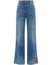 Gucci Logo-patch High-rise Flared Jeans - Blue
