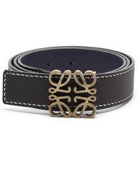 Loewe Anagram-buckle Leather Belt - Black