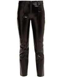 FRAME - Patent Leather Cropped Pants - Lyst