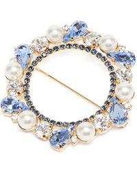 Erdem Broche en cristaux et ornements façon perle - Bleu