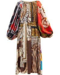 Rianna + Nina Robe patchwork en soie vintage à encolure froncée - Multicolore