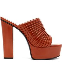 Givenchy Ribbed Leather Platform Mules - Multicolor