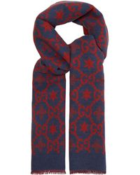 Gucci - GG Logo-intarsia Wool-blend Scarf - Lyst