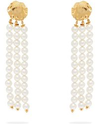 Elise Tsikis - Madera Faux Pearl Tassel Drop Earrings - Lyst