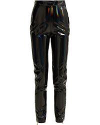Balmain Zip Hem Slim Leg Vinyl Trousers - Black
