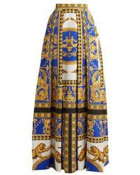 Versace - Lovers Baroque-printed Silk-cotton Skirt - Lyst