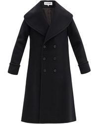 Loewe Double-breasted Wool-blend Overcoat - Black