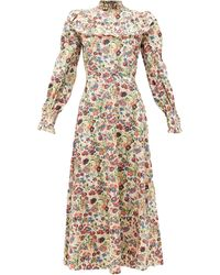The Vampire's Wife The Firefly Floral-print Gathered Cotton Dress - Multicolour