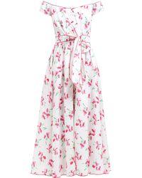 Gül Hürgel Poppy Print Off The Shoulder Cotton Midi Dress - Pink