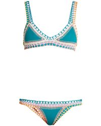 KIINI Liv Crochet Trimmed Triangle Bikini - Blue