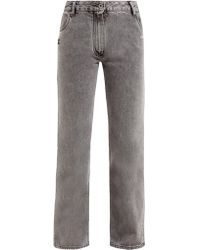 Off-White c/o Virgil Abloh Cropped Faded Wash Jeans - Gray