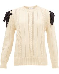 Molly Goddard Blanche Bow-shoulder Cable-knitted Wool Sweater - White